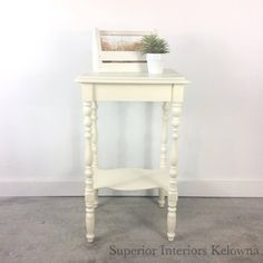 Bedside table updated with Superior Paint Co. Ivory Chalk furniture paint by Superior Interiors Kelowna Robins Egg, Chalk Paint Furniture, Bedside, Burlap, This Is Us, Ivory, Colours, Interiors, Table