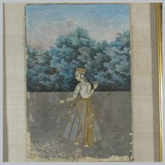 A WOMAN ON A TERRACE. Gouache with gold on paper,  Lucknow, 18th century, wearing diaphanous robes, fringed with gold brocade, a forest in the background