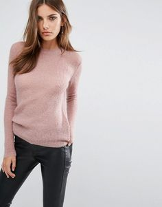 What a lovely knitted light pink jumper !