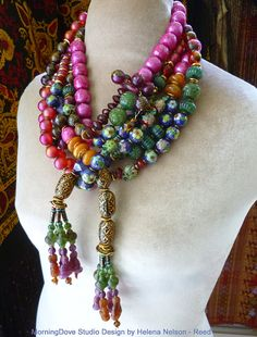 Bohemian Chinoiserie Opera necklace Beads by MorningDoveDesign, $205.00