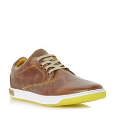DUNE MENS TABLE TOP - Colour Pop Leather Trainer - tan | Dune Shoes Online