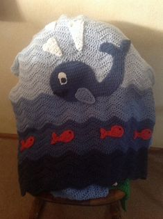 Adorable Crochet Baby Blanket Blue Whale in the by TalulaCrafts