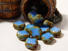 20 Pcs  9x8mm Czech Glass Beads  Blue Turquoise  by DesertSunBeads