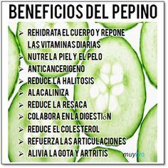#SaludNatural Los beneficios del Pepino es alcalinizante, reduce la #gota, reduce #aliteosis, etc
