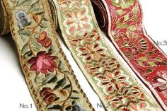 Rakuten: Indian antiqued embroidery sari horizontal stripe ribbon (Tyrolean tape) flower - Shopping Japanese products from Japan