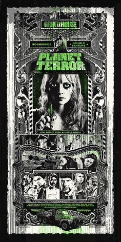 Planet Terror by Blunt. Best Movie Posters, Cinema Posters, Movie Poster Art, Awesome Posters, Art Posters, Awesome Art, Cult Movies, Scary Movies, Zombie Movies