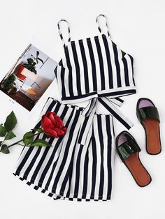 Vertical Striped Bow Tie Back Cami Top And Shorts Set