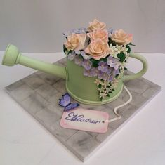 Floral Watering Can Cake Watering can cake with gum paste flowers. The spout is made of polystyrene covered in fondant and handle is made. Cake In A Can, Love Cake, How To Make Cake, 70th Birthday Cake Mum, Adult Birthday Cakes, Girly Cakes, Fancy Cakes, Diamond Wedding Anniversary Cake, Golf Themed Cakes