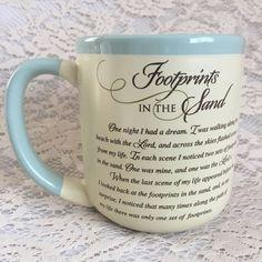 Footprints In The Sand Coffee Cup Christian Religious Faith Spiritual God Hope  #ebayrocteam