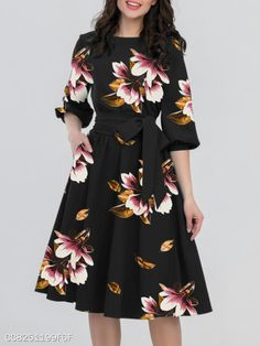Women Summer Dress Casual Print Floral Beach Party Dresses Vintage Midi Dresses Plus Size Vestidos Vintage Midi Dresses, Casual Dresses, Short Dresses, Fashion Dresses, Floral Fashion, Floral Dresses, Half Sleeve Dresses, Midi Dress With Sleeves, The Dress