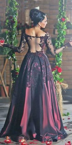 black and red a line long sleeves off the shoulder illusion back gothic bridal dresses