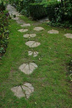 Concrete leaf impressions as stepping stones by KarlGercens.com, via Flickr
