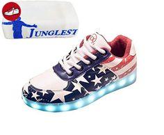 [Present:kleines Handtuch]Weiß EU 35, Herbst LED Aufladen Herren Erwachsene weise JUNGLEST® Schuhe USB Freizeitschuhe Leucht laufende schuhe Sport bunt Leuchte