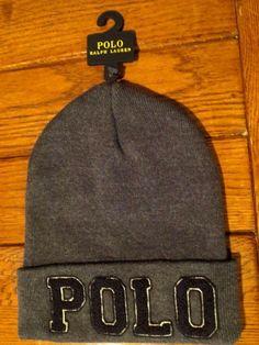 Polo ralph lauren beanie hat polo logo cuffed gray cotton new d2fada333330
