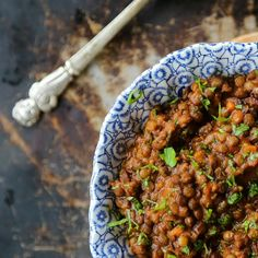 Thick, hearty Lentil Stew with ham from Foodiewithfamily.com