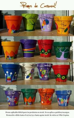 DIY Painted Clay Pots - Macetas Pintadas (fb)