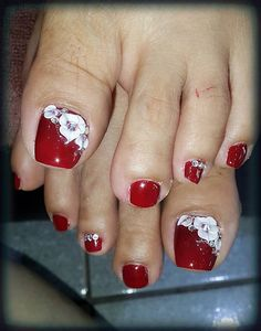 3d Nail Designs, Pedicure Designs, Pedicure Nail Art, Nail Polish Designs, Toe Nail Art, Pretty Toe Nails, Sexy Nails, Pretty Nail Art, Bridal Toe Nails