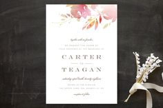 """Stately Florals"" - Floral & Botanical, Modern Wedding Invitations in Poppy by Lori Wemple."