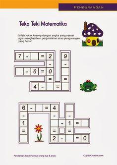 belajar anak SD, matematika pengurangan 1-10, lembar kerja paud, tts anak