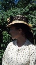 1860s summer hat by Crowned Heads Millinery