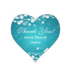 Teal Thank you Cherry Blossom Blue Heart Sticker