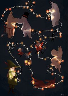 Or just avril or gaël Moomin Wallpaper, Christmas Lights Wallpaper, Moomin Valley, Tove Jansson, Nouvel An, Fauna, Cool Drawings, Cartoon Characters, Cool Art