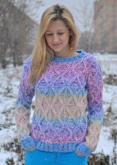 """Купить Женский свитер """"Сочная зима"""" - вязание, свитер, яркий, подарок девушке, ручная работа"""