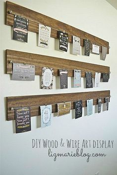 I love this idea for a casual, changeable gallery wall - would be great for birthday/holiday cards, birth announcements, wedding save-the-dates, and random photos and things that you want to look at for awhile but not forever.