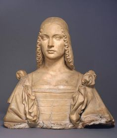 Attributed to Gian Cristoforo Romano, Portrait of a Woman, Probably Isabella d'Este, c. 1500. Terracotta, formerly polychromed, 21-3/8 x 21-1/2 in.