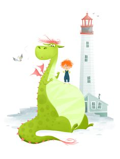 Pete's Dragon illustration by Coralie Vallageas Art Disney, Disney Kunst, Pete Dragon, Dragon Art, Dragon Illustration, Children's Book Illustration, Elliott Le Dragon, Dragon Nursery, Illustration Mignonne