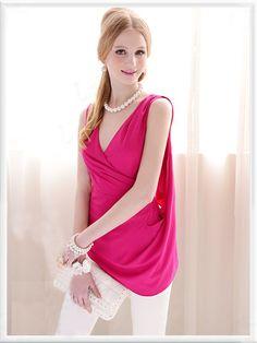 Morpheus Boutique  - Hot Pink Sleeveless V Neck Wrap Ruffle Tops
