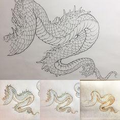 Dragon tattoo ideas - Tattoo Thinks Dragon Tattoo Foot, Dragon Tattoo Sketch, Dragon Tattoo Designs, Japanese Tattoo Art, Japanese Tattoo Designs, Japanese Art, Line Drawing Tattoos, Tattoo Drawings, Tattoo Sketches