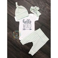 Newborn Baby Coming Home Outfit Gender Neutral Hello World Mint Thin Stripe Theme - Boy Going Home Hello World, Baby Shower Gift - Quick Hairstyles 2020 Baby Boys, Baby Boy Newborn, Ho Baby, Baby Going Home Outfit, Coming Home Outfit, Baby Girl Nursery Themes, Baby Nursery Neutral, Gender Neutral Baby Clothes, Cute Baby Clothes