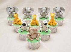 Jungle Animal Cakes, Cupcakes, and Cookies - photo from It's A Cake Thing (Jho) Kid Cupcakes, Animal Cupcakes, Baking Cupcakes, Cupcake Cookies, Jungle Cake, Jungle Party, Jungle Theme, Safari Birthday Party, Birthday Ideas