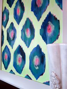 $100    Original Ikat acrylic painting on canvas paper