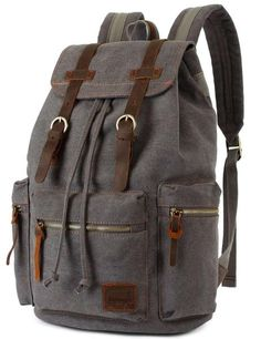 bb0e4d2fa2d3 Backpack Type  Canvas  amp  Genuine Leather Backpack   Carrying… Grey  Backpacks