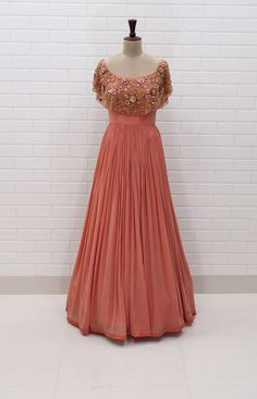 DONNA : Off shoulder pleated gown with Floral Sequins and Beads embroidered flaired collar. #Yoshita #Gown #Burano #peach #Zardosi