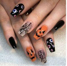 Ongles Gel Halloween, Halloween Acrylic Nails, Fall Acrylic Nails, Acrylic Nail Designs, Nail Art Designs, Nails Design, Design Art, Design Ideas, Holloween Nails