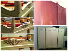 Closet Cabinets Antique Furniture Design Before and After Vintage Shabby chic Pastels Cream Furniture Makeover