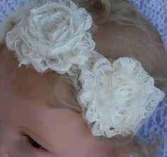 Shabby chic cream colored baby headband by Joysheartcreations, $7.00