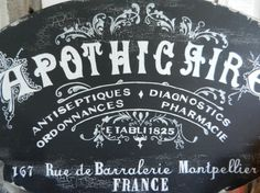 APOTHICAIRE Apothecary pharmacy chalk french by FrenchVelvetHorses