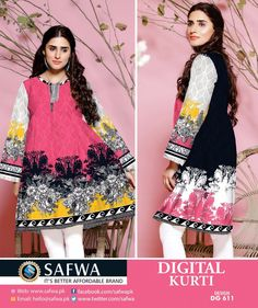 cf7e121fa2 DG611 - SAFWA DIGITAL COTTON PRINT KURTI COLLECTION -SHIRT KURTI KAMEEZ