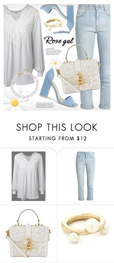 """""""Rosegal white crochet blouse"""" by vn1ta ❤ liked on Polyvore featuring STELLA McCARTNEY, Nly Shoes, Dolce&Gabbana, Salvatore Ferragamo and Vanessa Mooney"""