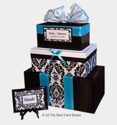 Damask Wedding Card Box,Wedding Card Box,Wedding Card Holder,wedding card box with slot,wedding cent Aqua Wedding, Damask Wedding, Farm Wedding, Dream Wedding, Wedding Sash, Wedding Ideas, Wedding Table, Centerpiece Wedding, 2017 Wedding