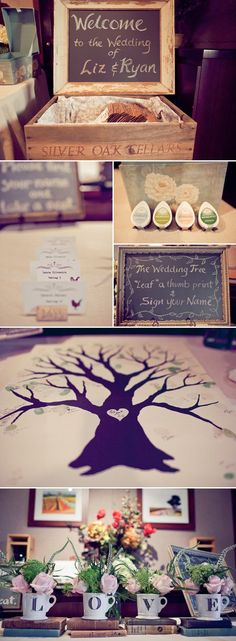 Welcome table rustic chic wedding. I LOVE THIS! Leaf a thumbprint and sign your name! BEST IDEA EVER FOR A GUESTBOOK