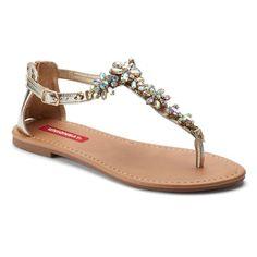 Unionbay Women's T-Strap Sandals, Girl's, Size: 11, Gold