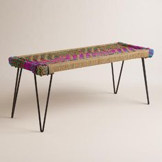 Built using simple, modern lines, this eclectic Chindi bench nods to the vibrant and colorful culture of India. Chindi is a sustainable design… Recycled Furniture, Handmade Furniture, Home Decor Furniture, Living Room Furniture, Dinning Room Bench, Dining Tables, Entryway Bench, Tiny Living Rooms, H & M Home