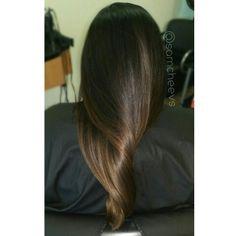 Dark brown to light brown color melt long hair Instagram @samcheevs