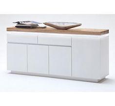 Buffet design blanc laqué/bois 4 portes et 2 tiroirs à Led multicolore Romina