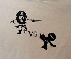 Pirate VS Ninja tshirt by KiWiCuties on Etsy, $15.00